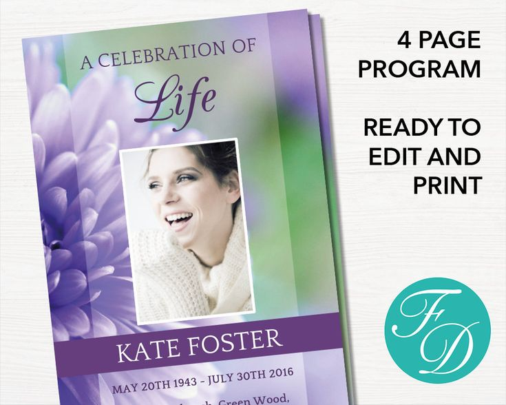 52 best Purple Funeral Programs images on Pinterest Templates - celebration of life templates
