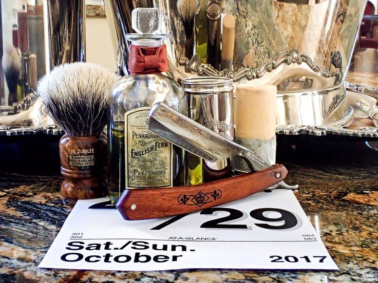 "Colgate shave soap stick, Simpson badger brush, Thiers Issard 6/8"" straight razor, Penhaligon's English Fern cologne, October 29, 2017.  ©Sarimento1"