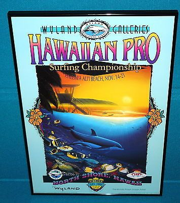 1994 WYLAND GALLERIES : Hawaiian Pro SURFING CHAMPIONSHIP Framed POSTER PRINT
