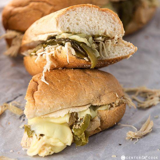 Crockpot Chicken Philly Sandwiches