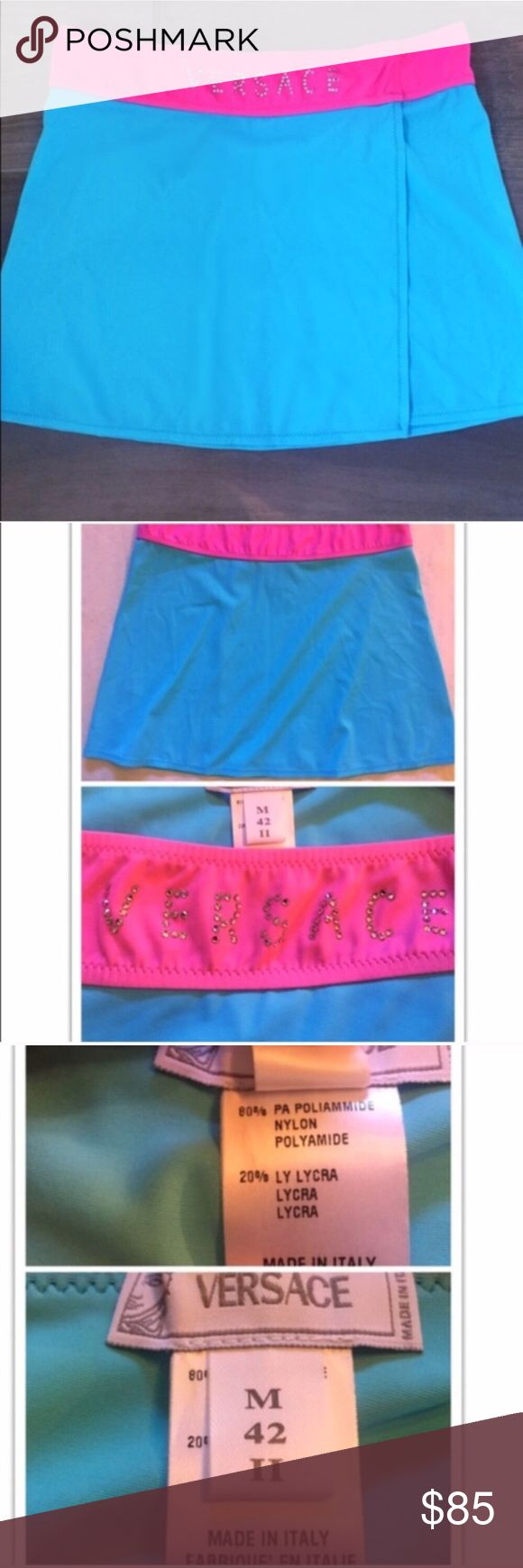 """🆕 Versace bedazzled stretch mini skirt authentic 🔵I do not accept lowball offers🔵 Never worn & flawless! Authentic Versace. All rhinestones in tact. 80% poly/20% Lycra spandex. Very stretchy. Medium. Measures 14"""" long & 30"""" across top hem. Please ask any questions. No lowball offers. 🔴Bundle your likes for a private sale offer! 🔴NO TRADES, no modeling. 🔴REASONABLE offers welcome via offer button. Smoke-free home. Fast shipping! Versace Skirts Mini"""