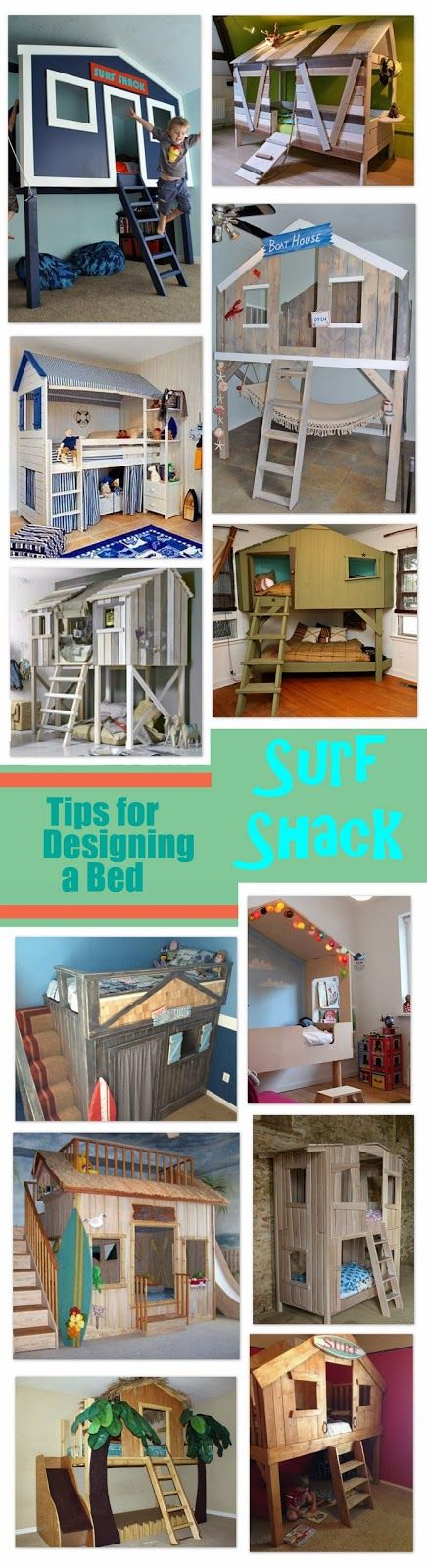 Designing a Surf Shack Bed. Good idea for the little boy...when he gets older!