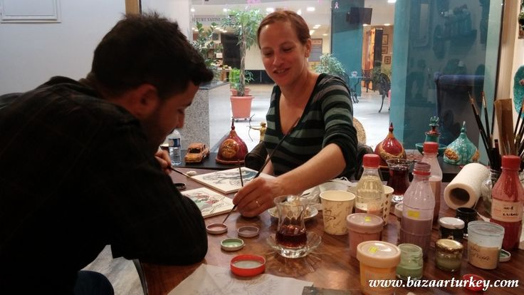 Traditional Ottoman Tile and Ceramic Painting Course with our guests visiting us from Dallas. - November 2016 / Sultanahmet - Istanbul.   http://www.bazaarturkey.com/tours/turkish_tiles_workshop.html - See more at: http://bazaarturkey.com/shop/bazaarturkey-blog/ottoman-tile-ceramic-courses-istanbui#sthash.VYoVldOI.dpuf
