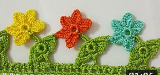 yapraklı çiçekler tığ oyası yapımı
