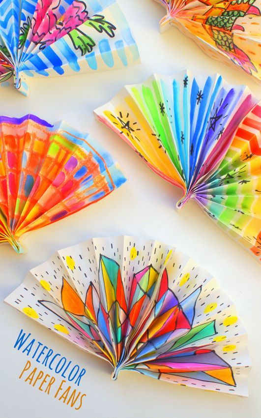 Watercolor Painted Paper Fans  Craft Ideas for the classroom  Crafts Paper fans Art for kids