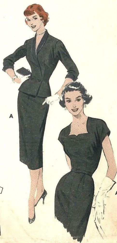 "Vintage 1950s Sewing Pattern ROCKABILLY Sheath Dress, Cut Out Neckline Bust 36"" #Butterick"
