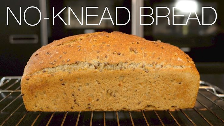 No-knead 58 % whole wheat bread with linseed & sunflower seed