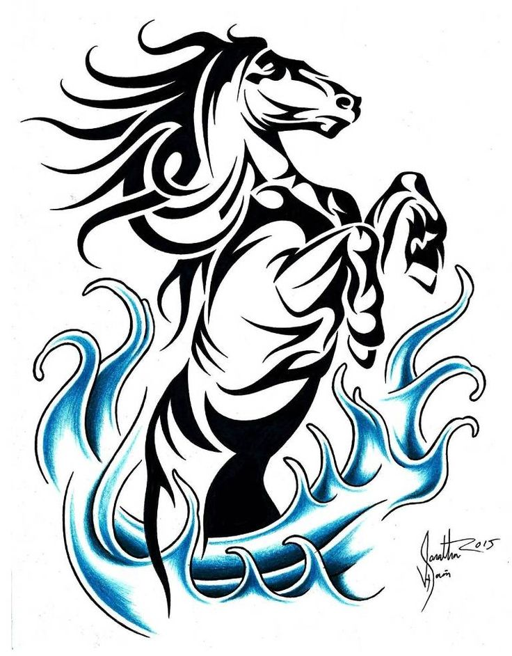 This is a photo of Versatile Tribal Horse Drawing