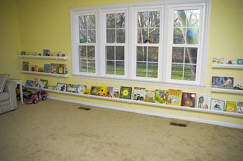 This is a neat idea so the child can reach the books: Rain Gutter, Book Display, Idea, Gutter Bookshelves, Art Display, Book Shelves, Playrooms, Kids Rooms, Gutter Bookshelf