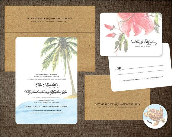 Palm Tree Wedding Invitations Hibiscus Hawaii By Botanicapaperie