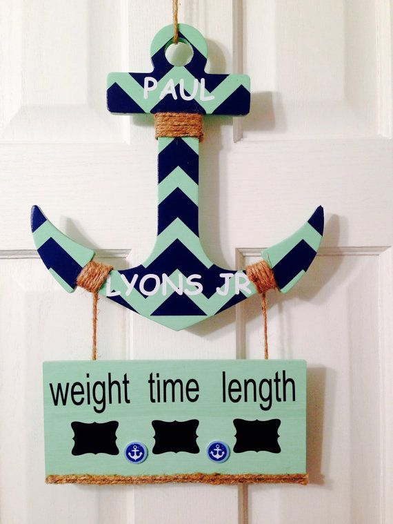 It's a boy anchor baby hospital door hanger sign chevron nursery  announcement hanger.