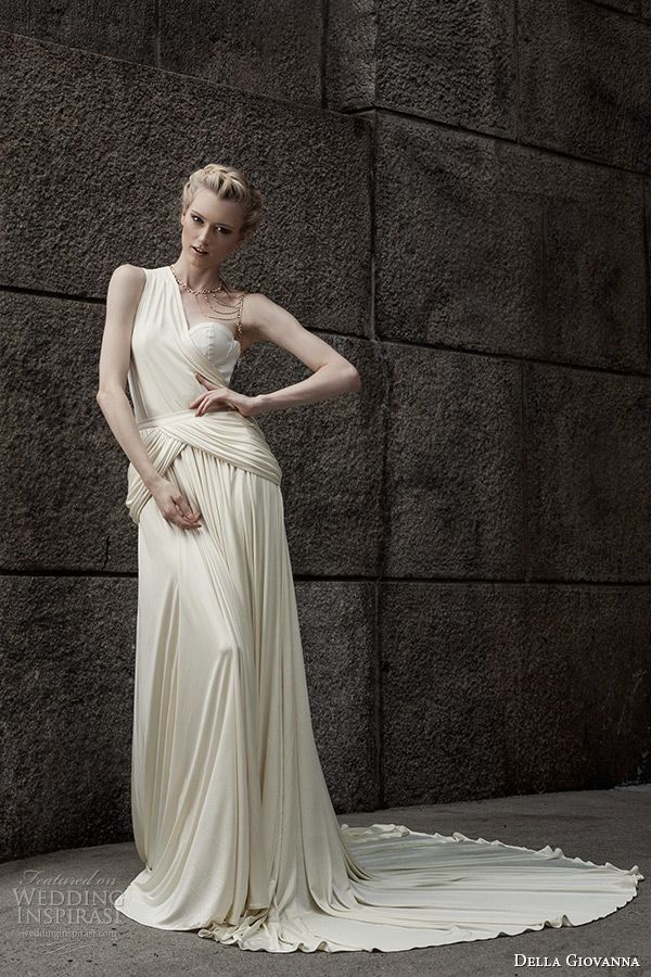 della giovanna wedding dress 2015 bridal silk knit jersey one shoulder draped corset zoey silk knit jersey gercian draped skirt sarah model