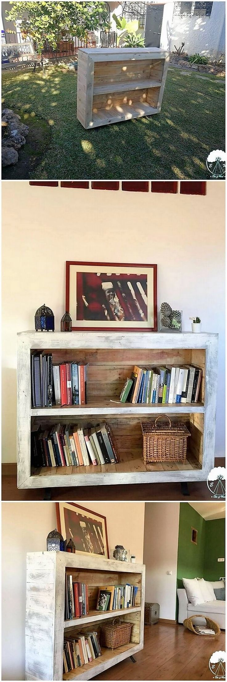 This unique wood pallet creation is some sort of bookshelf stand which you can purposely use for so many innovative services. This creation is divided into two portions of the shelves as the backrest side of the creation where the cabinet functioning is also the part of it.