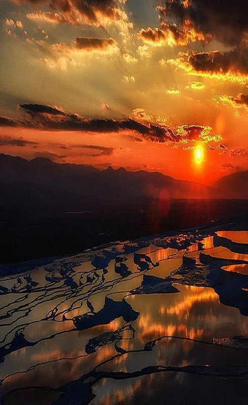 Sunset in Pamukkale, Turkey.