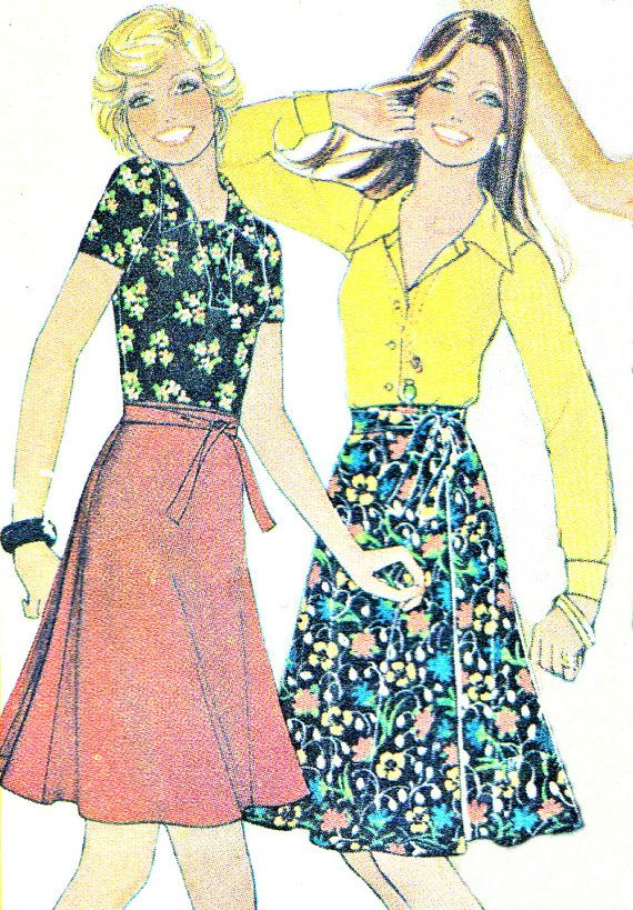 1970s skirt pattern mccalls 4324 maxi or midi wrap by