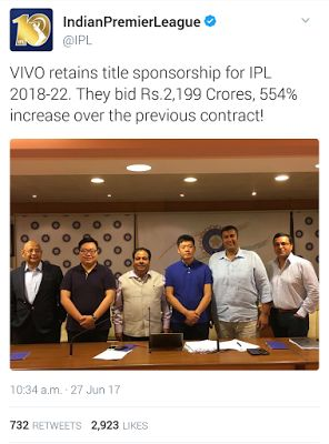 BLUECRICKETIN.COM: ipl title sponsorship sold out  for 2,199 crores