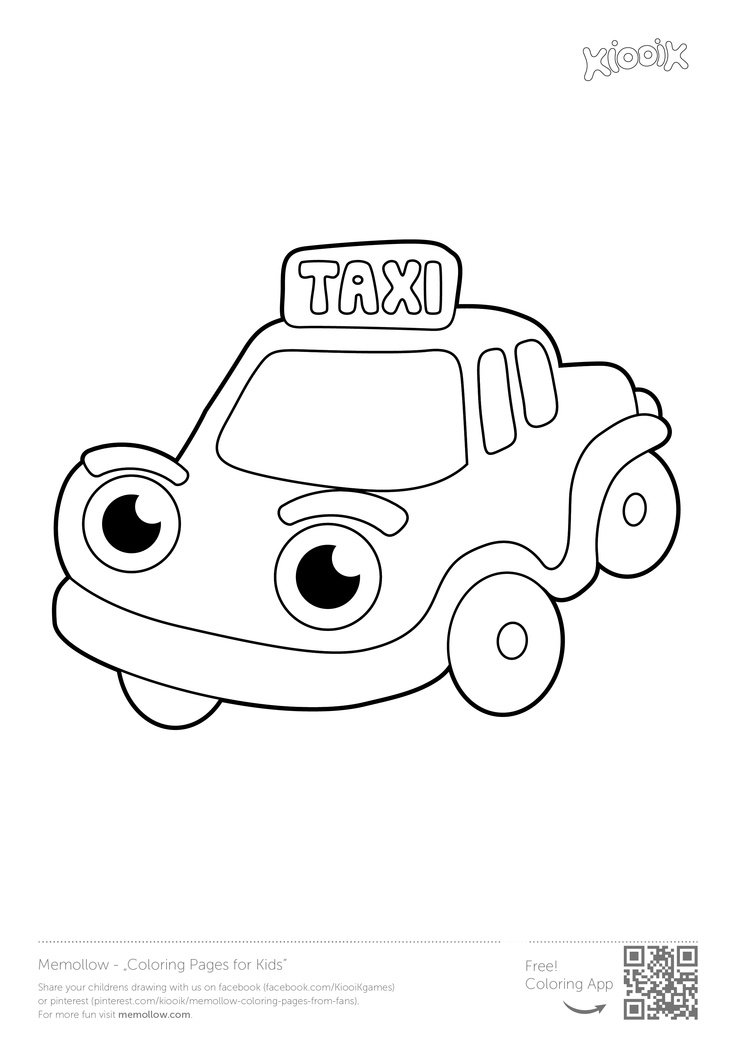 Moms taxi worksheet for kids practicing coloring point for Taxi coloring page