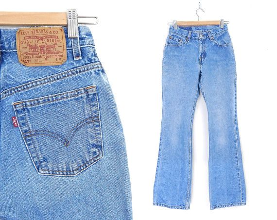 Sz 2 Mid Rise Boot Cut Levis 517 Women's Jeans - Vintage 90s Light Blue Denim Slim Fit Flare Jeans - Made in USA Cowgirl Jeans