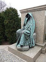 "I'm reading the new biography of Clover Adams by Natalie Dykstra and I'm stunned by Clover's own photography.   From a website devoted to Clover Adams:  ""This grave monument was commissioned by writer and historian Henry Adams as a memorial to his wife, Marian Clover Hooper Adams. The allegorical sculpture, a shrouded figure, is popularly known as Grief but was titled by the sculptor as The Mystery of the Hereafter and The Peace of God that Passeth Understanding. A male model..."