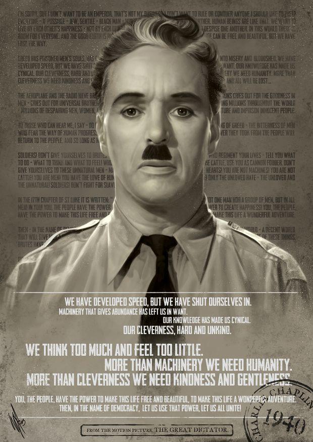 A falta de frase, un discurso completo: Este es un resumen gráfico del discurso de Charles Chaplin en la película 'El Gran Dictador' de 1940 (pueden ver el discurso subtitulado en http://youtu.be/SRaZUlAtAzg). Diseño por WarrenLouw.