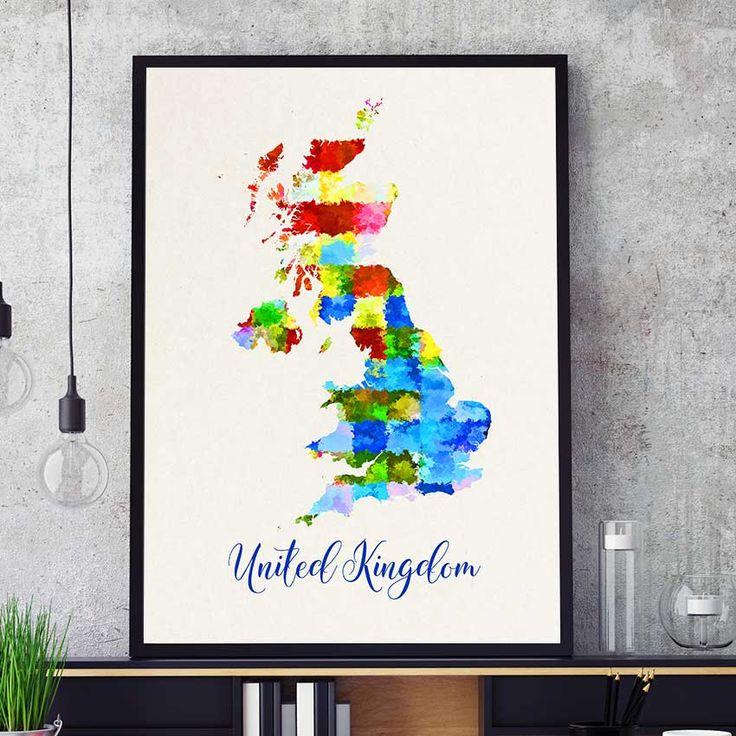 United Kingdom Map, United Kingdom Print, England Map, Watercolor Map Print, England Home Decor, United Kingdom Poster (708) by PointDot on Etsy