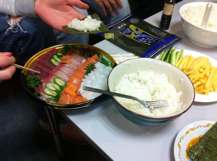 Sashimi, raw fish like squid and salmon