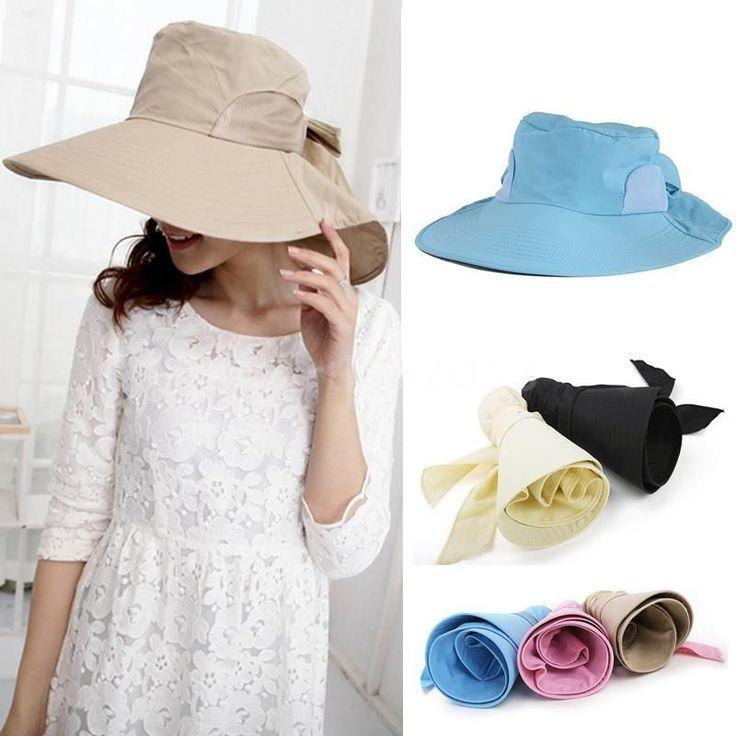 Girl Floppy Large Brim Bowknot Hat Travel Self-tie Summer Beach Sun Cap Foldable #New #CasualBeach