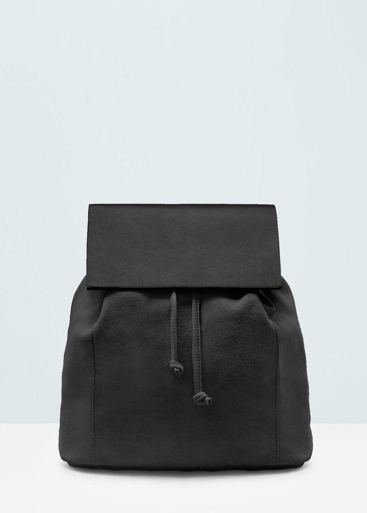 Lapel suede backpack -  Women | MANGO