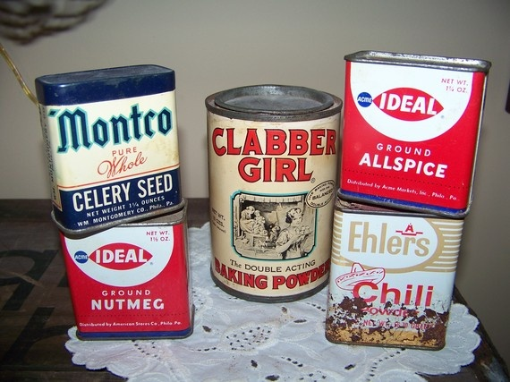 vintage spice tins by TreasuredCharm on Etsy, $20.25