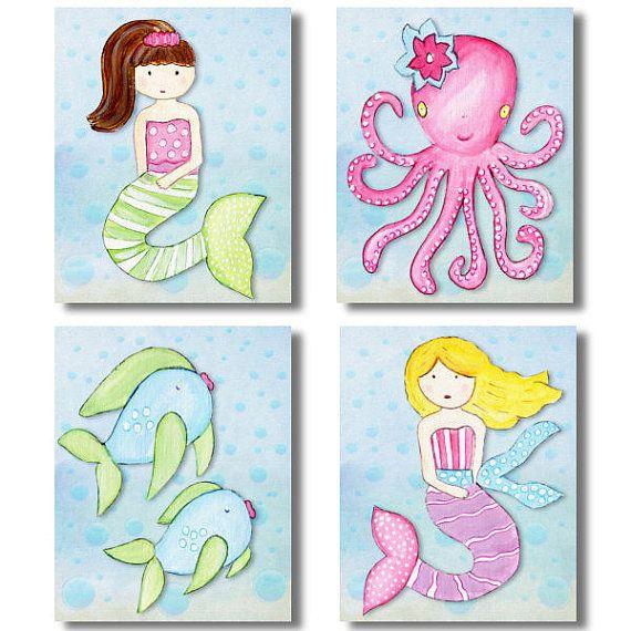 Key West Mermaids Set of 4 paper prints for kids pottery barn kids room on Etsy, $20.00