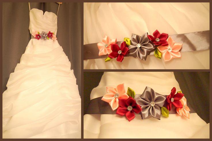 Ribbon flower wedding belt. Wedding dress belt. Made by me. www.svatbyodvery.cz