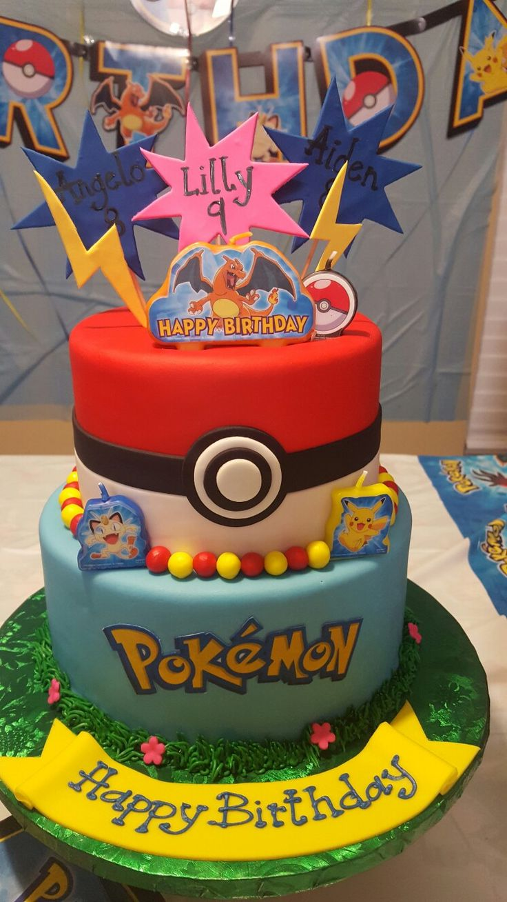 Pokemon Birthday cake for three siblings...