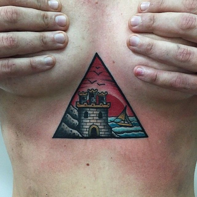 34 best castle tattoo designs images on pinterest castle for Solar plexus tattoo