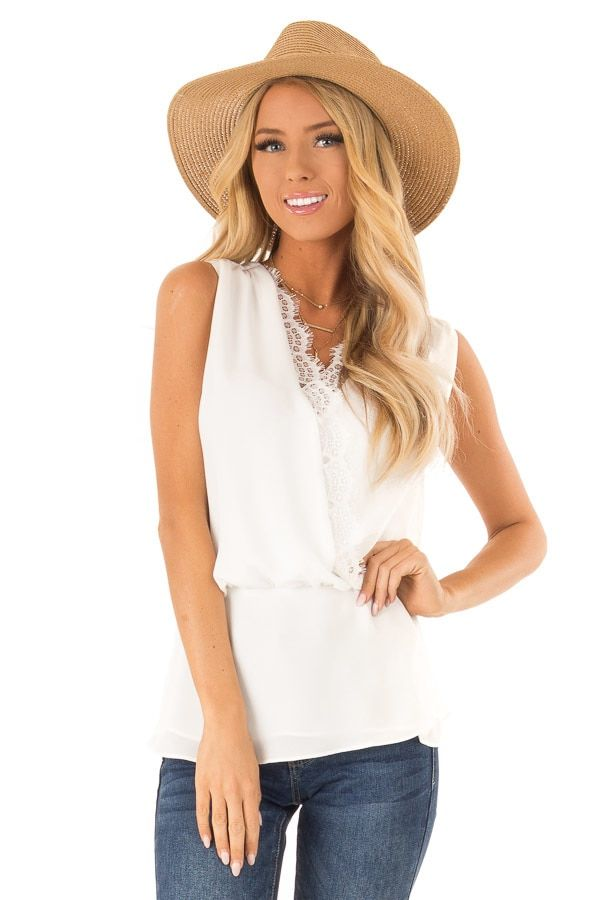 667a244839b Off White V Neck Surplice Tank Top with Waist Tie Detail front close up