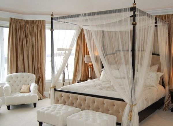 Canopy Bed Drapes/curtain For King Size Bed, White