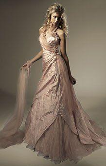 Garamaj silk dusky pink colour wedding dress with ruffle collar