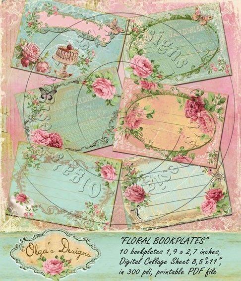 Vintage FLORAL BOOKPLATES, Digital Collage Sheet, in 300 pdi, printable PDF file