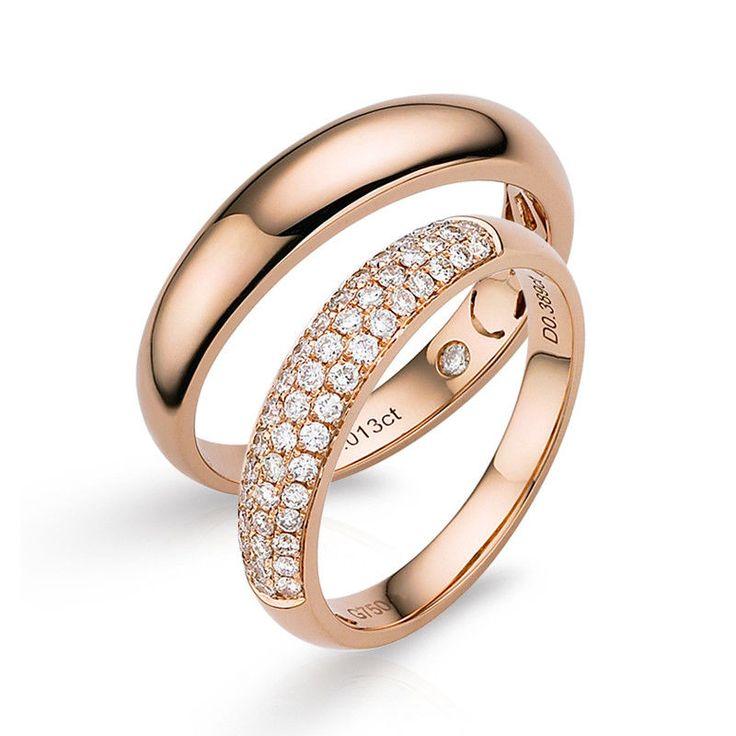 ELEGANT Pair of 18K Rose Gold 0.40ct Diamond Wedding Band Rings #yuxi #WithDiamonds