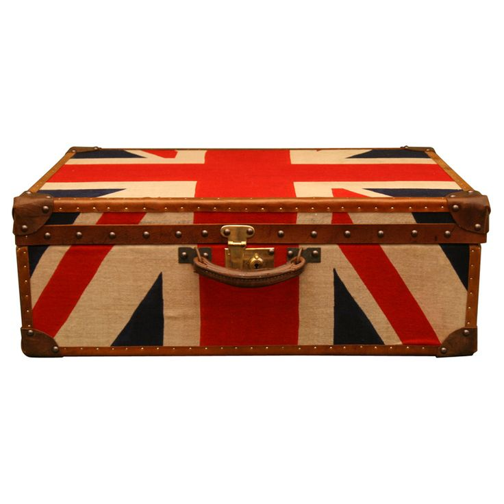 1930's English Suitcase, newly covered in vintage Union Jack flags with reinforced leather-bound corners and strapping with brass nail heads.