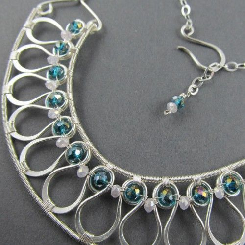 Stunning! woven wire jewelry   Silver Wire Woven Collar Necklace with Aqua Crystals ...