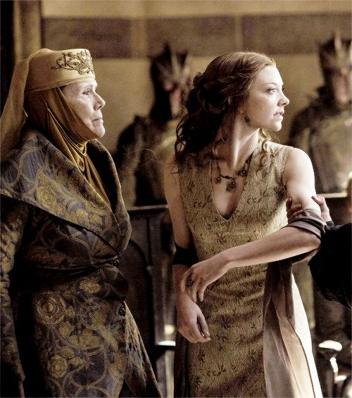 Lady Olenna Tyrell watching The High Sparrow arrest Loras then give the order to have her granddaughter Queen Margaery taken to the cells as well (S5, E6) Note: Through Cersei's influence, the High Sparrow was elected High Septon. To further gain his support, Cersei signed a decree restoring the Faith Militant, military orders under the command of the High Septon with the right to bear arms and dispense justice (GOT Wikia)
