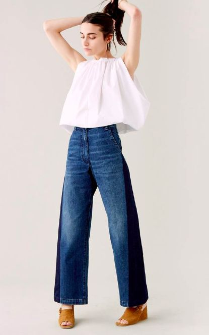 Volume on top and bottom. Wide legged cropped pants.