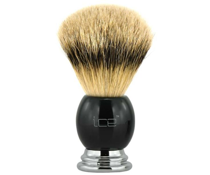 The Ice Chrome and Black Silvertip Badger Brush. Silvertip badger brushes are widely known as the best shaving brush you can possibly get. Hair from the underbelly and neck is used, where it is softest. Available at House of Knives.