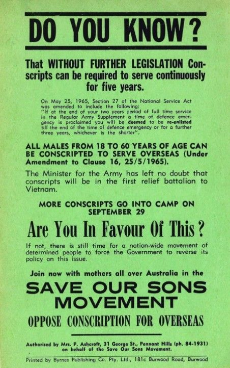 Save our Sons movement was a passionate voice against the Vietnam lottery