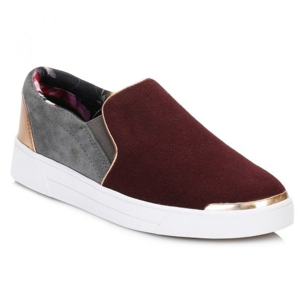 Womens Burgundy Dark Grey Cahoo Citrus Bloom Trainers (1,425 MXN) ❤ liked on Polyvore featuring shoes, sneakers, ted baker, slip on sneakers, ted baker trainers, ted baker shoes and metallic slip on shoes