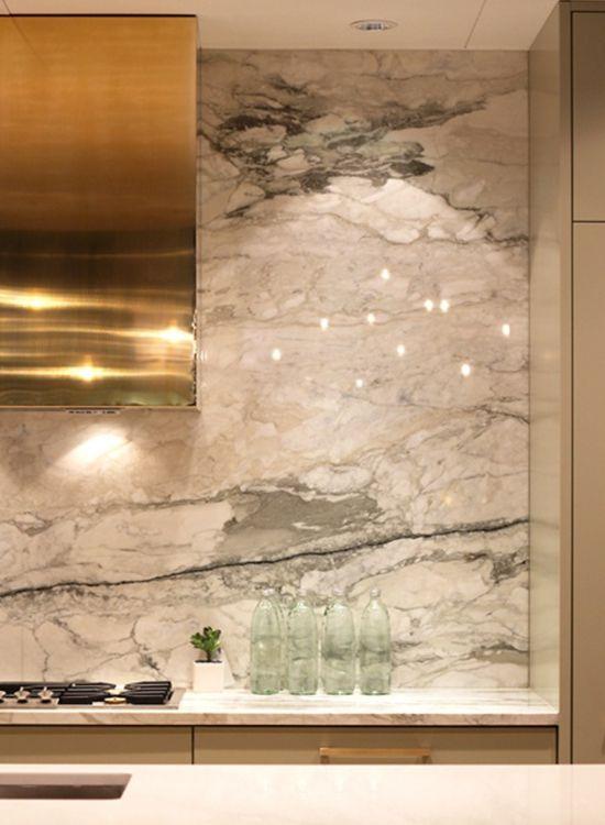 gold hood + green & white marble backsplash via High-Impact Design ...