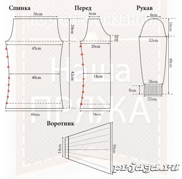 patrón de la blusa hecha punto