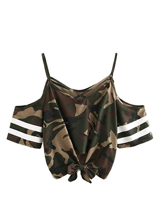 4a83e93df46c0e  10.99 SweatyRocks Women s Knotted Cold Shoulder T Shirt Criss Cross Crop Tops  Camo L
