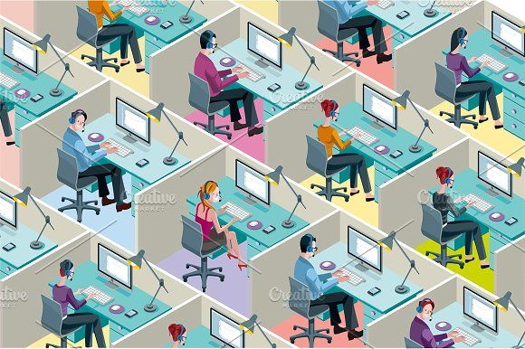 Isometric Office Cubicles by ÁRTICA on @creativemarket
