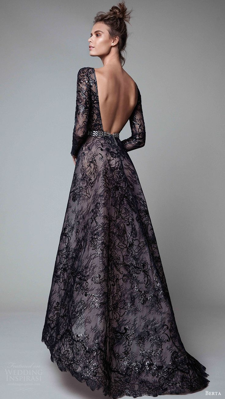 berta rtw fall 2017 (17 20) long sleeves jewel neck a line embellished evening dress black bv open back train